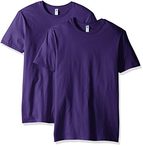 - Fruit of the Loom Men's Crew T-Shirt (2 Pack), Purple, Large