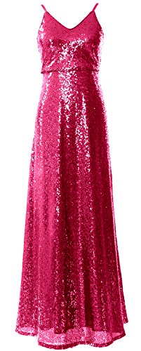 Wedding Gown V Women Long Evening Party Fuchsia Neck MACloth Sequin Bridesmaid Dress np1TqXvw