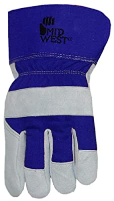 Midwest Gloves and Gear 7750TH-B-AZ-6 Men's Suede Cowhide Leather Palm Work Glove, Small, 1-Pack