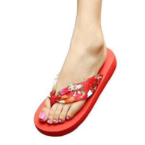 YOUJIA Mujeres Estampado Chanclas Verano Zapatos de playa Bohemia Satín Plataforma Zapatillas Rojo Oro