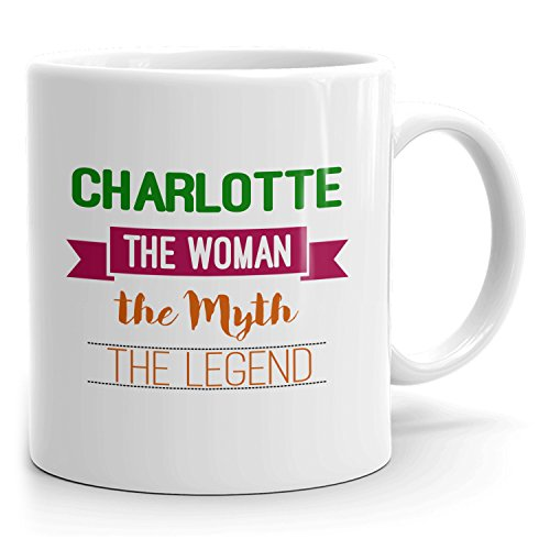 Personalized Charlotte Mug - The Woman The Myth The Legend - Gifts for Women, Wife, Mom, Girlfriend - 11oz White Mug - Green