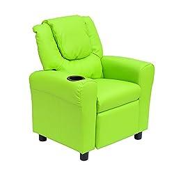 HomCom Kids PU Leather Sofa Recliner Chair w/ Cup Holder - Green