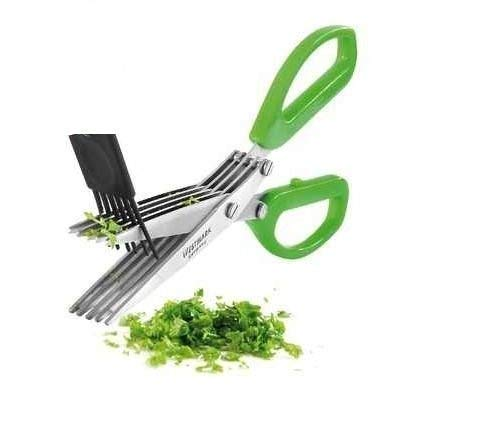 VARNI Fashion's Shredding Scissors with Cleaning Comb/Multi-Function 5 Blade Vegetable Stainless Steel Herbs Scissor with Blade Comb – Color May Vary Price & Reviews