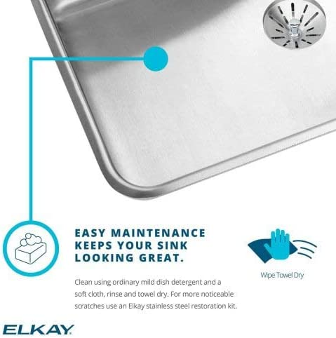 Elkay LRAD3122554 4-Hole Gourmet Lustertone 31-Inch x 22-Inch Self Rimming Single Basin Stainless Steel Kitchen Sink