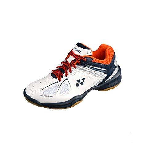 (Yonex SHB 35 Junior 2018 New White Orange Badminton Tennis Indoor Court Sports Shoes (Junior 2 (20.0cm), White/Orange))