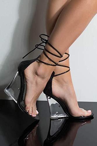 Cape Robbin Magnetic Black Translucent Wedge High Heel Tie Up Open Toe Sandal (10, - Wedge Clear Black