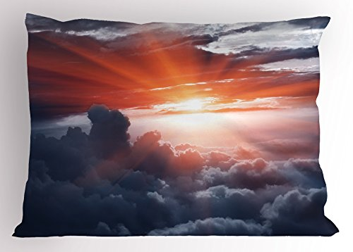 Clouds Pillow Sham by Lunarable, Sun Beams above the Clouds Crossing Atmospheric Effects Earth's Motion Angle Print, Decorative Standard Queen Size Printed Pillowcase, 30 X 20 Inches, Pink Grey