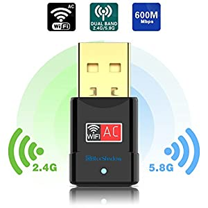 USB Wifi Adapter - Dual Band 2.4G/5G Mini Wi-fi ac Wireless Network Card Dongle with High Gain Antenna For Desktop Laptop PC Support Windows XP Vista/7/8/8.1/10 (USB Wifi 600Mbps)