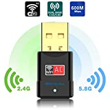 dual band ac usb - USB Wifi Adapter - Dual Band 2.4G/5G Mini Wi-fi ac Wireless Network Card Dongle with High Gain Antenna For Desktop Laptop PC Support Windows XP Vista/7/8/8.1/10 (USB Wifi 600Mbps)