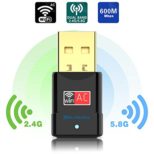 USB Wifi Adapter 600Mbps Dual Band 2.4G/5G Mini Wi-fi Wireless Network Dongle Adapter with High Gain Antenna For Desktop Laptop PC Support Windows XP Vista/7/8/8.1/10 Mac OS X 10.4-10.12 (Internal Hd Tv Antenna)