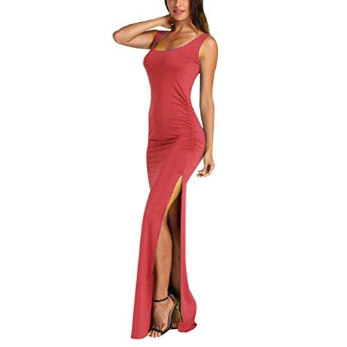 Ansenesna Vestidos Mujer Verano 2018 Fiesta Playa Vestido Maxi Largo Sin Mangas De Las Mujeres Atractivas del Verano del O Cuello Melon Rojo
