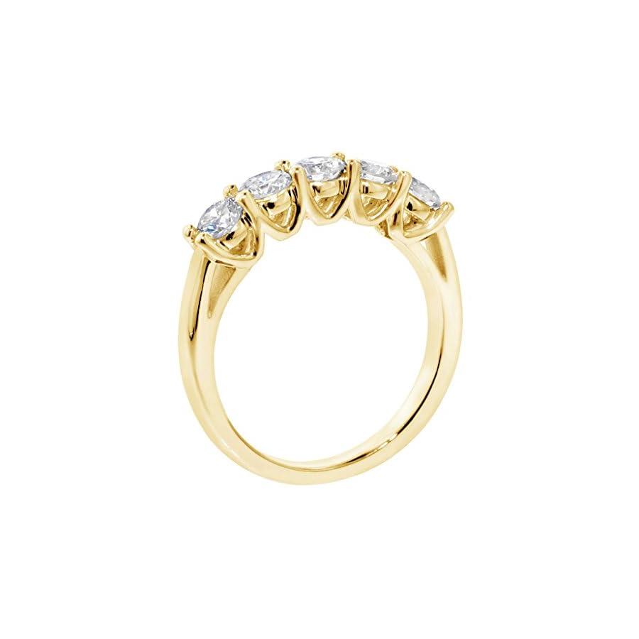 VIP Jewelry Art 1.00 CT TW Brilliant Cut Large Diamond Wedding Band in 18k Yellow Gold V Prong Setting