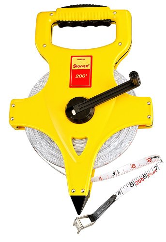 Starrett KTS537-200M-N ABS Plastic Yellow Case Open Reel Fiberglass Long Tape, English Graduation Style, 200