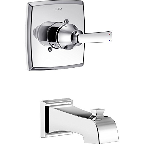 Delta Ashlyn Modern 14 Series Chrome Finish Single Handle Wall Mounted Tub Only Faucet INCLUDES Rough-in Valve D1240V ()