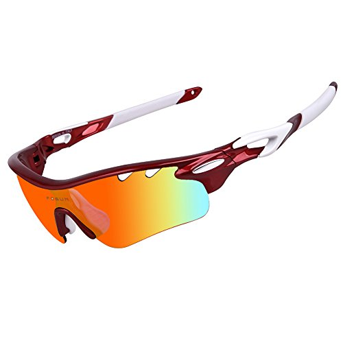 Polarized Sports Sunglasses with 5 Interchangeable Lenses for Men Women Cycling Baseball Running Fishing Driving Golf Glasses Tr90 Unbreakable Frame (maroon, - School Aviator Old Goggles