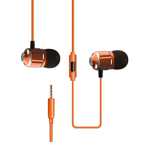 MOXOM In-ear Earbuds with Microphone Bass Earphones Headphones 3.5mm Audio Plug for iPhone, Samsung, iPad and Most Android Phones