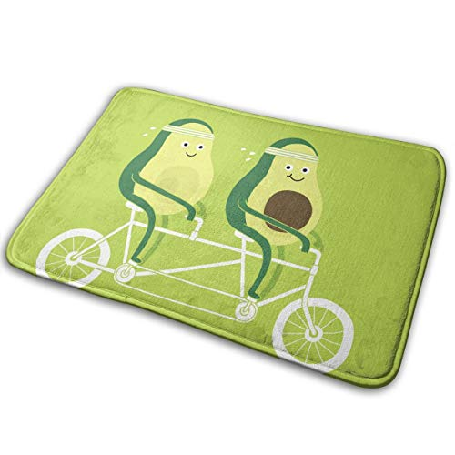 LNUO-2 Indoor Outdoor Door Mat Avocado Riding Bike Rug Floor Mats for High Traffic Areas, Easy Clean
