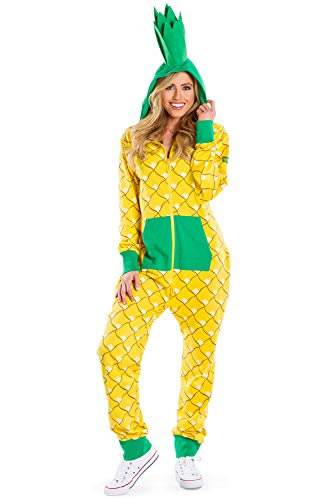Tipsy Elves Comfy Pineapple Costume for Halloween - Cute Pineapple Onesie Jumpsuit for Women: Small Yellow