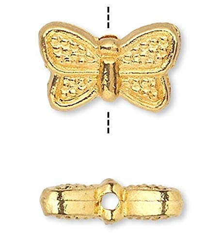 - 50 Gold Plated Pewter Double Sided 10X6Mm Butterfly Beads
