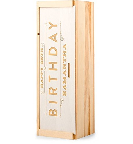 GiftTree Personalized Happy Birthday Wine Crate | Custom Engraved Gift Box For Him or Her | Unique Happy Birthday Gift Idea For Wine Lovers & Wine Enthusiast