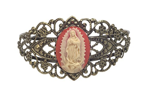 Bracelet, Virgin Lady of Guadalupe Acrylic Cameo Antique Floral Bronze Bangle Bracelet + FREE GIFT BAG