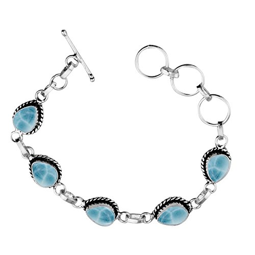 Sterling Silver Jewelry 11.00ctw, Simulated Larimar & 925 Silver Plated Bracelet Made by Sterling Silver Jewelry