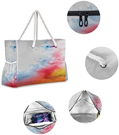 Beach Bag For Men Colorful Abstract Ink Custom Beach Tote Men Beach Bag 20.5 X 7.3 X 15 Inch Zipper Closure With Cotton Handle For Picnics Travel Vacations