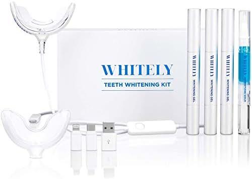 [2019 New] Whitely All-in-One At-Home Teeth Whitening Kit, No Sensitivity, Premium LED Light, Safe 35% Carbamide Peroxide, Whitening Pen (3 Pack), Desensitizing Gel (1 Pack), 30+ Uses, Hi-Smile,Whiten