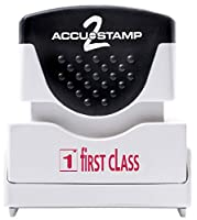 ACCUSTAMP2 Message Stamp with Micro Ban Protection, First Class, Pre-Ink, Red Ink (035597)
