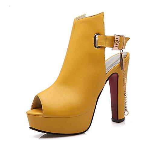 MEOTINA Women Gladiator Shoes Peep Toe Slingback High Heels Gladiator Pumps (9, Yellow)