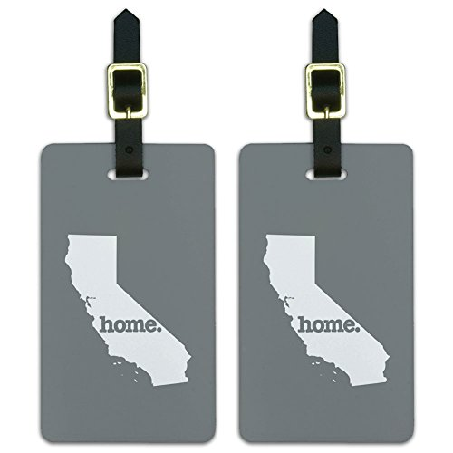 State Luggage Tag (Graphics & More California Ca Home State Luggage Suitcase Id Tags-Solid Grey Gray, White)