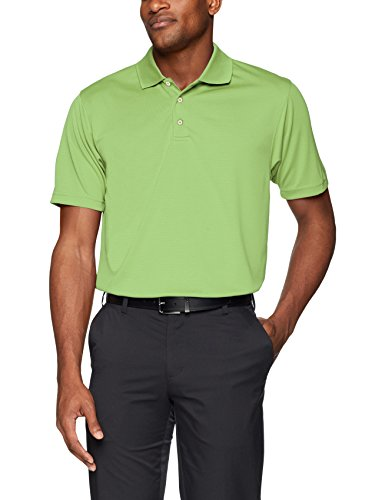 Men's Pebble Beach Golf Polo Shirt with Short Sleeve and Horizontal Textured Design, Grass Green, Large