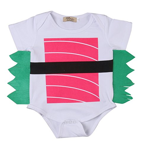 (Baby Boys Girls Cute Sushi Bodysuits Toddler Short Sleeve Rompers Outfits (0-3M,)