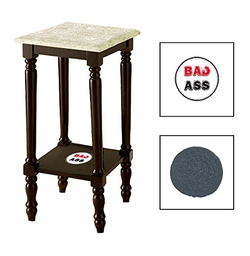 Espresso/Dark Walnut Marble Top Accent Table Featuring the Choice of Your Favorite Novelty Themed Logo on the Bottom Shelf - FREE Coaster Included (Bad Ass Round)