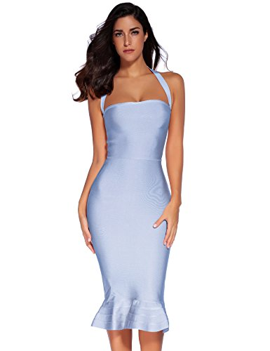 Meilun Womens Rayon Halter Fishtail Bandage Dress (S, Ice Blue)