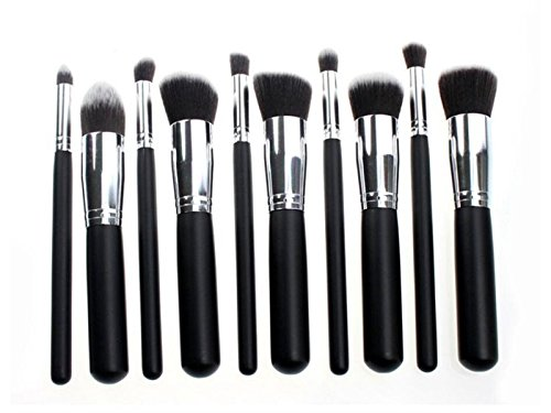 Hezon Ten PCS Makeup Brushes Black Wooden Handle and Sliver Aluminium Holder Stylish Professional Synthetic Makeup Tools Sets EASY TO USE