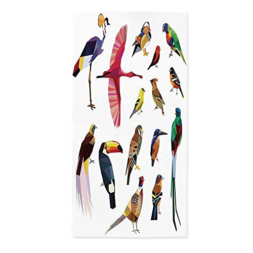 - Flying Birds Decor Fashionable Tablecloth,Colored Collection of Bird Set with Poly Design Triangle Mosaic Illustration for Living for Secretaire Square Table Office Table,24''W X 48''L