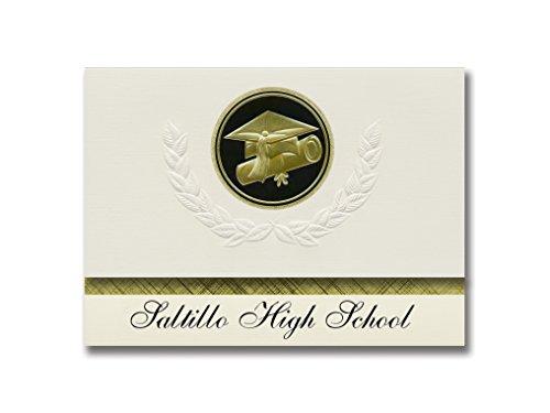 (Signature Announcements Saltillo High School (Saltillo, MS) Graduation Announcements, Presidential style, Elite package of 25 Cap & Diploma Seal. Black & Gold.)