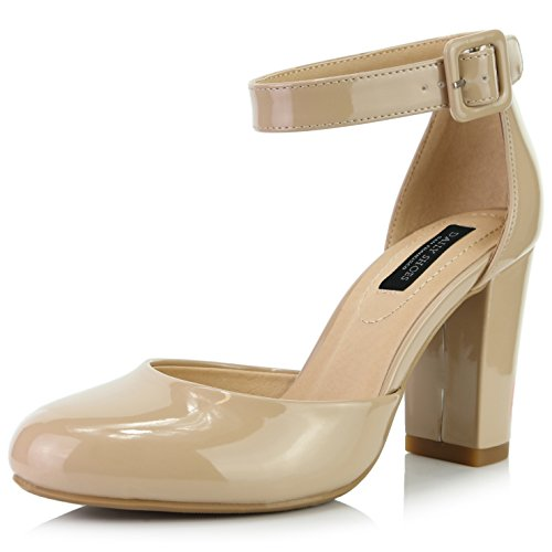 - DailyShoes Women's Chunky Heel Round Toe Ankle Strap Pumps Shoes, Beige Patent Leather, 7.5 B(M) US