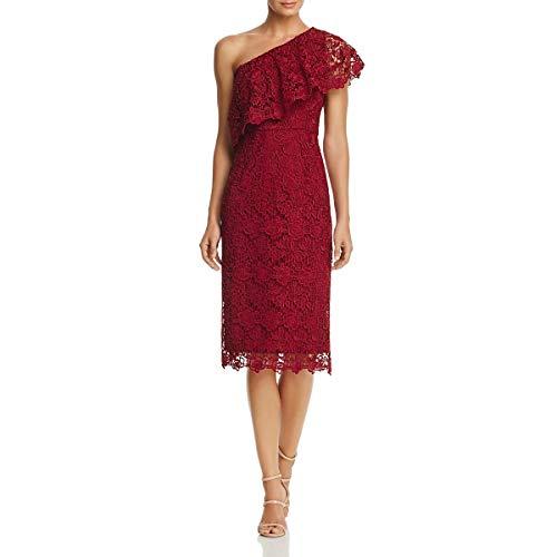 - Nanette Nanette Lepore Women's One Shoulder Lace Sheath W/Flounce Neckline, Cranberry, 12