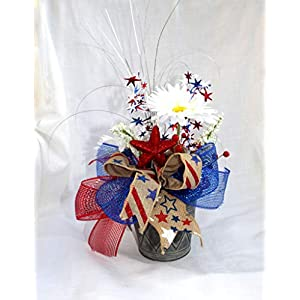 Small Patriotic floral arrangement, July 4th table Centerpiece, red white blue silk flowers 30