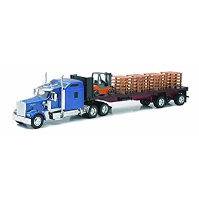 Kenworth Flatbed W/ Forklift and Pallet by New Ray: New Ray: Toys & Games