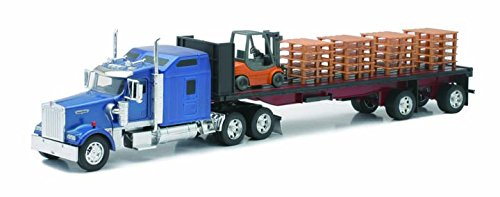 Kenworth Flatbed W/ Forklift and Pallet by New Ray (Flat Bed Truck Models)