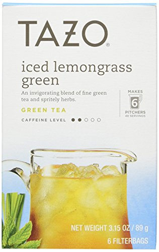Tazo Iced Lemongrass Green Tea 6 Bags (Case of 4) 3.15oz each