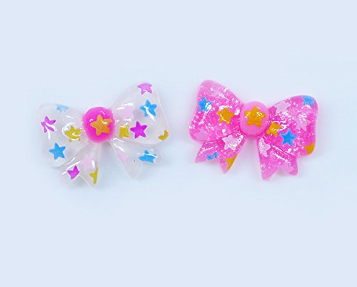 LOVEKITTY 4 pcs Bows Cute Resin Flat Back Kawaii Cabochons