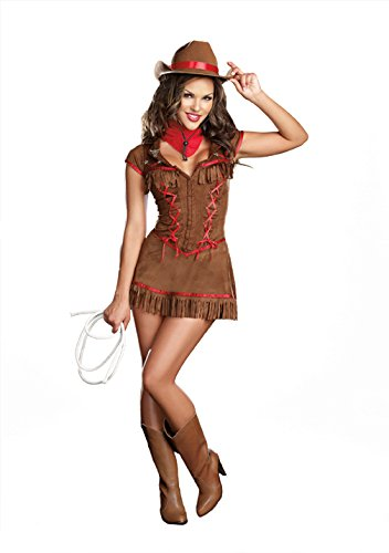 Dreamgirl Women's Giddy Up Cowgirl Costume, Brown,