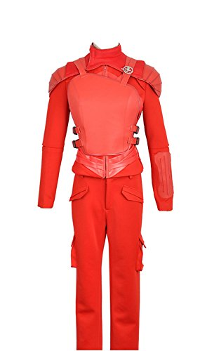 The Hunger Games Part 2 Katniss Everdeen Battleframe Red Cosplay Costume (X-Large Female, Red)
