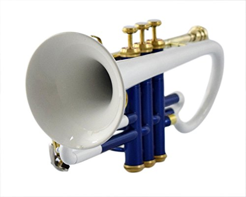 BLUE+WHITE COLOR CORNET Bb PITCH FOR SALE WITH FREE HARD CASE AND MOUTHPIECE by SAI MUSICAL