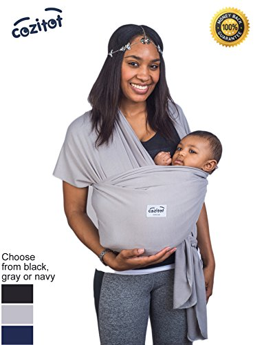 Aqua Blue Baby Sling Carrier Wrap by Cozitot | Stretchy All Cloth Baby Carrier | Baby Sling Carrier | Small to Plus Size Baby Sling | Nursing Cover | Best Baby Shower Gift