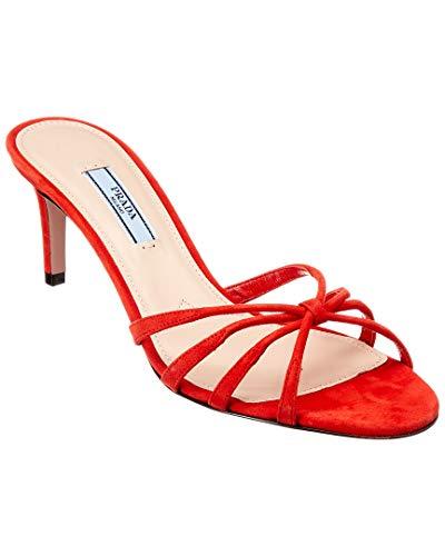 Prada 65 Suede Sandal, 38, Red ()